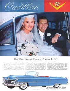 """Cadillac - For the finest days of your life! """"Guests of honor"""" wherever they go Meeting of Cadillac owners They'll take the Cadillac Vintage Advertisements, Vintage Ads, Vintage Photos, Vintage Bridal, Funny Commercials, Funny Ads, Funny Pranks, Funny Images, Funny Photos"""