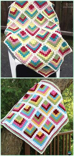 Crochet Mitered Granny Square Blanket Free PatternsDIY How To Page 2 Crochet Afgans, Crochet Quilt, Knit Or Crochet, Crochet Crafts, Crochet Stitches, Crochet Projects, Free Crochet, Granny Square Blanket, Granny Square Crochet Pattern
