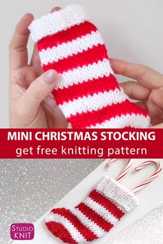 Mini Christmas Stocking Knitting Pattern So cute and easy! This Mini Free Christmas Stocking Knitting Pattern is a super cute decoration, utensil cozy, and gift topper. Get free pattern and watch full video tutorial by Studio Knit. Knitted Christmas Stocking Patterns, Knitted Christmas Decorations, Mini Christmas Stockings, Mini Stockings, Christmas Holidays, Knit Christmas Ornaments, Easy Knitting Patterns, Free Knitting, Knitting Ideas