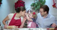 Princess Estelle with Mom and Dad making Christmas Cookies