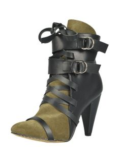 Shop Lace Up Buckle Strap Heeled Boots with Army Green Suede Panel from choies.com .Free shipping Worldwide.$117.99