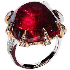 N.V. Gallery Milano Cabochon Rubelite Diamond Gold Ring