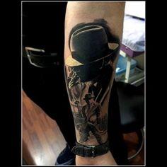 #ganster #tattoo #blackandgray #smoke #cap #ganstersleeve #darkwork #blackwork #worldfamousink #tatts #halfsleeve #thomson #tattoed #ink #inked #silverbackink #inprogresstattoo #chayennetattooequipment #rotary #have #fun #with #ink #forearm