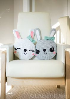 PDF PATTERN: Snuggle Bunny Pillows Crochet Pattern  - - - - - - - - - - - - - - - - - - - - - - - - - - - - - - - - - - - - - - - - - - - - - - - - These sweet bunny pillows are irresistibly snuggly and the perfect size to cuddle! Their cute expressions will brighten up any room and add a