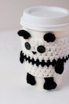 Crochet Panda Coffee Cup Cozy by CuddlefishCrafts on Etsy Crochet Coffee Cozy, Crochet Cozy, Crochet Gifts, Cute Crochet, Crochet Panda, Yarn Projects, Crochet Projects, Panda Craft, Crochet Mignon