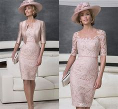 Wholesale Mother Bride Dresses - Buy 2015 Mother of the Bride Dresses with Jackets 1/2 Long Sleeves Tea Length Pant Suits Scoop Neck Sheer Champagne Lace Sheath Bride Gowns, $152.88 | DHgate.com