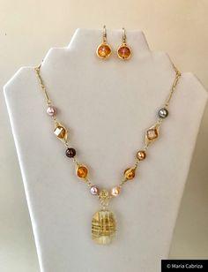 1089a54a9968 Joyas - hecho a mano joyería - oro y Ambar joyas conjunto - alambre  envuelto joyería - ámbar cristal collar y aretes