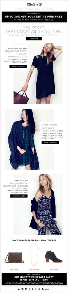 Madewell holiday email. SL: Busy.
