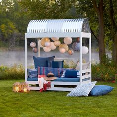 Create a Shady Personal Oasis for Your Backyard with This DIY Cabana Outdoor Retreat, Backyard Retreat, Outdoor Rooms, Backyard Patio, Outdoor Living, Outdoor Decor, Backyard Cabana, Outdoor Cabana, Yard Landscaping