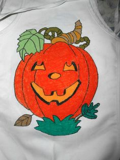 Happy Pumpkin Child's Hand Painted Apron by Justsomestuff2011 on Etsy