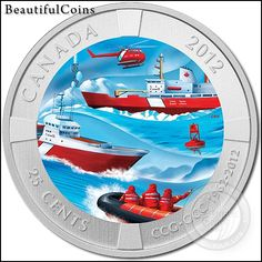 Canada – The 2012 Canadian Coast Guard Colored 25 Cents Coin Canadian Facts, Canadian Things, Mint Coins, Gold And Silver Coins, Canadian Coast Guard, O Canada, Search And Rescue, Rare Coins, Coin Collecting