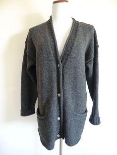 NEW EDDIE BOUER 100% Wool 2ply Lagenlook Style Cardigan Size Medium #EddieBauer #Cardigan