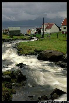Stream running through the village of Gjуgv, Faroe Islands