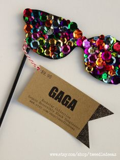 Photo Booth Props - Rockstar Gaga Sequin Sunglasses - Weddings - Party Favors - Special Events - Glasses on a Stick