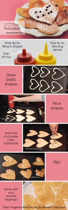 I {Heart} You Pancakes {Create fun pancake shapes with this simple tutorial from OneCreativeMommy.com} #valentine #breakfast