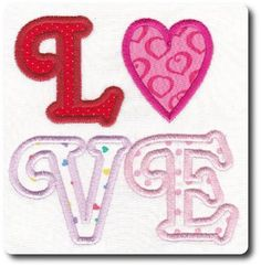 Applique Valentine Love Embroidery Design by 8clawsandapaw on Etsy, $1.95