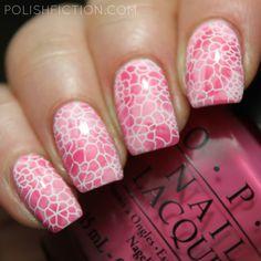 Pink stamper marbling with white stamping