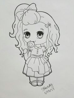 Lilly Lollipop line art. You can find the colored version on my RedBubble.com site at PenguinFreakSH3 (Stephanie Hardy) on products!