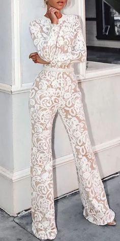 Lace Jumpsuit - New Sites Jumpsuit Long, Lace Jumpsuit, Jumpsuit Elegante, Elegant Jumpsuit, Mrs Always Right, Looks Chic, Long Jumpsuits, Mode Vintage, Overall