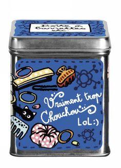 """Boîte à barrettes """"Lolita"""" - bleu - Derrière la Porte - DLP - Boite produits de beauté/Brosse à cheveux originale et accessoires - espritlog..."""