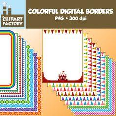 Clip Art: Colorful Digital Borders and Frames- 18 Borders