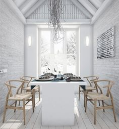 [Interior] A country house style loft - VirloVa Style All White Room, White Rooms, Loft Design, House Design, Loft Stil, Style Loft, Sweet Home, Apartment Interior Design, Kitchen Interior