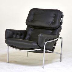 Martin Visser; Leather and Chromed Steel Lounge Chair for Spectrum, 1970s.