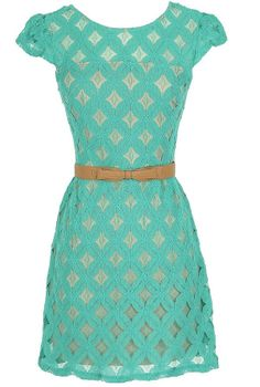 Pinwheel Lace Belted Dress in Jade  www.lilyboutique.com