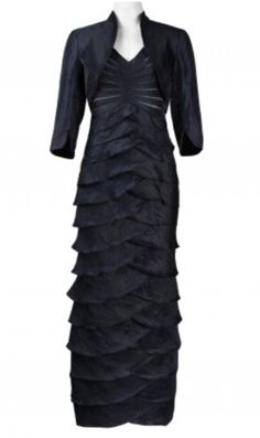 ADRIANNA PAPELL Shutter Pleated Gown with Bolero