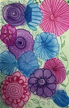 Watch this video to learn how to create this beautiful flower painting with watercolors and markers. Learn simple water color techniques and turn your doodles into a painting. Check out www.smilesandswirls for more creative ideas. Easy Flower Painting, Flower Paintings, Watercolor Paintings, Jane Davenport Watercolors, Summer Art Activities, You Doodle, Watercolor Techniques, Creative Ideas, Markers