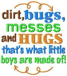 Sew Sassy Tee's Dirt Bugs Messes And Hugs That's What Little Boys Are Made Of Embroidered Shirt Babies or Kids T-shirt Funny Shirts Sayings Machine Embroidery Thread, Baby Embroidery, Learn Embroidery, Silk Ribbon Embroidery, Machine Embroidery Designs, Embroidery Stitches, Embroidery Tattoo, Embroidery Ideas, Reading Pillow