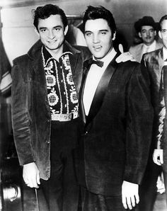 Elvis with Johnny Cash backstage at the Opry on December 21, 1957