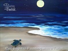 """Painting With a Twist - """"Turtle Heading Home"""" in Austin at"""