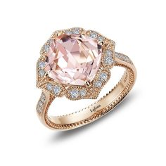 Morganite Ring by LAFONN set in 18K Rose Gold-Bonded Sterling Silver with Simulated Diamonds, MSRP $180.