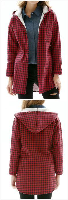 5327651104d Fashion Long Sleeve Plaid Fleece Coat - NOVASHE.com