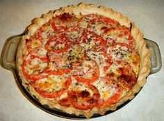 Rachel's Southern Tomato Pie:  Slice 2 cups tomatoes & drain in colander; add salt, pepper & set aside.  Mix in separate bowl 1/2 cup mayo, 1 cup mozzarella & 1 cup cheddar shredded cheeses, 1/2 cup chopped green onion, and 1 egg. Use crescent rolls or deep dish pie shell & brush olive oil on pastry.Sprinkle garlic powder and basil. Put layers of tomatoes then cheese mixture-layer twice-and end up with cheese. Bake @ 350---20 minutes for crescent rolls or 30 minutes for pie shell.