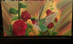 Hollyhocks and Hummingbird