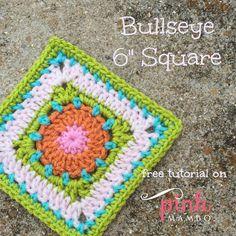 "Bullseye 6"" Crochet Square ~ free pattern ᛡ"