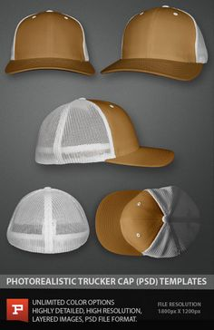 Photo Real Flexfit trucker cap template mockup file.