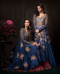 These mood indigo gowns are truly luxurious and rich, with bodices done in zardosi, antique peeta and tonal thread work and bias flares, done in antique peeta. Pakistani Bridal, Bridal Lehenga, Pakistani Dresses, Indian Bridal, Indian Dresses, Indian Outfits, Bridal Outfits, Bridal Dresses, Shyamal And Bhumika