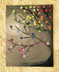 Trendy Diy Canvas Art For Kids Button Tree Button Tree Art, Button Art On Canvas, Kids Canvas Art, Diy Canvas, Diy And Crafts, Crafts For Kids, Arts And Crafts, Diy Wall Art, Diy Art