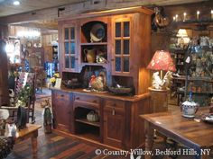 country rustic hutch for kitchen or dining room with seeded glass pane doors and crown molding- Country Willow Furniture