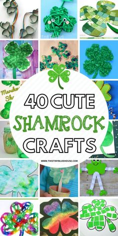 40 St Patrick's Shamrock Crafts For Kids – This Tiny Blue House Here are 40 adorable and simple shamrock crafts for kids that are the perfect way to celebrate St. Diy St Patrick's Day Crafts, March Crafts, St Patricks Day Crafts For Kids, Crafts For Kids To Make, Spring Crafts, Holiday Crafts, Blue Crafts, Kids Diy, Crafty Kids