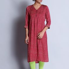 Maroon Hand Block Printed Modal Viscose Long Kurta With Pintuck Details & Embroidered Sleeves by indigene Indian Suits Online, Indian Clothes Online, Suits Online Shopping, Kurta Designs Women, Sari Fabric, Pin Tucks, Indian Outfits, Shirt Dress, Sleeves