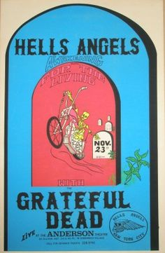 Today in Dead History - at the Anderson Theatre, NYC. Hell's Angels show! Rock Posters, Band Posters, Concert Posters, Grateful Dead Image, Grateful Dead Poster, Dead Images, Der Club, Dead And Company, Hells Angels