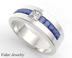 Mens Wedding Band,Unique Wedding Bands,Blue Sapphire wedding band,Diamond…