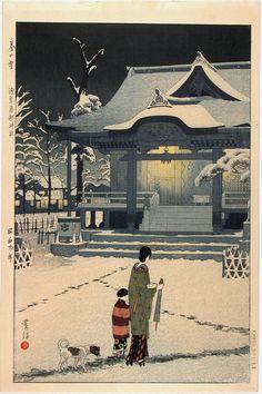 "Kasamatsu Shiro ""Spring Snow at Toriku Shrine, Asakusa"" 1934. Woodblock."