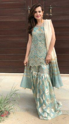 Buy Light Blue Color Sharara Suit by Akanksha Singh at Fresh Look Fashion Pakistani Formal Dresses, Shadi Dresses, Pakistani Wedding Outfits, Pakistani Wedding Dresses, Pakistani Dress Design, Indian Dresses, Indian Outfits, Pakistani Clothing, Stylish Dress Designs