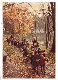 leaf gathering field trip - 1963 | Photo by A. Stanovov