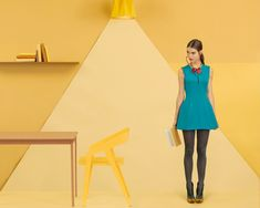 origami-editorial-by-kristina-varaksina-ew York-based Russian photographer Kristina Varaksina shot this gorgeous color block editorial. Using simple monochromatic backgrounds, great styling and paper props, Varaksina adds an interesting geometric layer to her shots. The emphasis on straight lines coupled with the use of eye popping hues make this origami editorial one of a kind